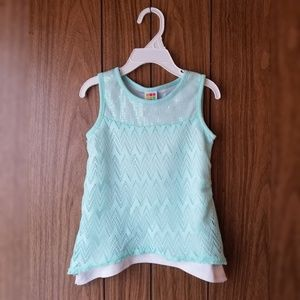 Toddler Girl's Turquoise Sequin Tank Top
